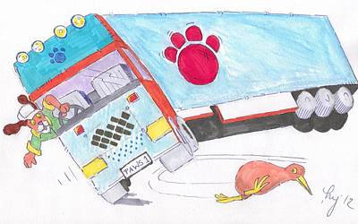 Kiwi Drawing - Cartoon Truck Lorry by Mike Jory