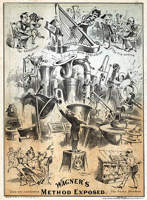 Cat Cartoon Painting - Cartoon Wagner, 1877 by Granger