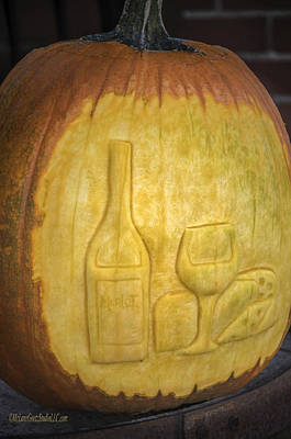 Carved Photograph - Carved Pumkin Wine And Cheese by LeeAnn McLaneGoetz McLaneGoetzStudioLLCcom