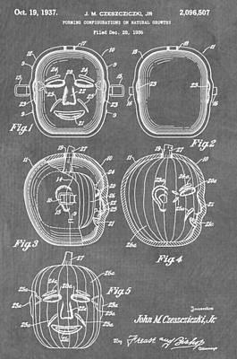 Jack-o-lantern Digital Art - Carved Pumpkin Patent by Dan Sproul