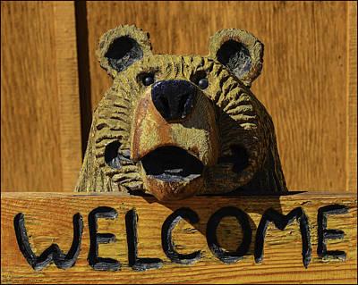 Carved Photograph - Carved Welcome Bear by LeeAnn McLaneGoetz McLaneGoetzStudioLLCcom