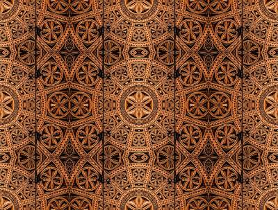 Carved Wooden Cabinet Symmetry Print by Hakon Soreide