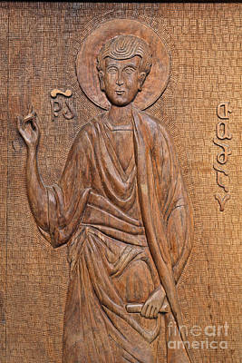 Tbilisi Photograph - Carved Wooden Door At The Tsminda Sameba Cathedral Tbilisi by Robert Preston