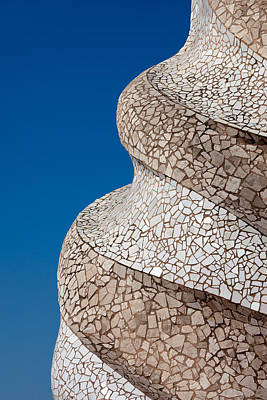 Casa Mila Abstract Chimney Detail In Barcelona Print by Artur Bogacki