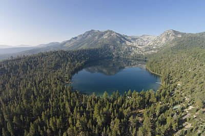 Aerial Photograph - Cascade Lake Reflecting Mt. Tallac by David Levy