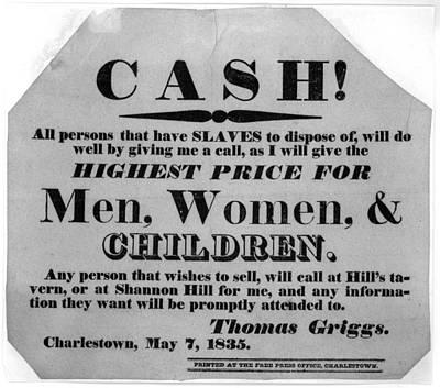 Cash For Slaves Notice  1835 Print by Daniel Hagerman