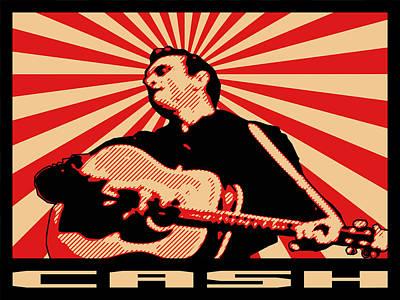 Rock N Roll Icons Digital Art - Cash by Lance Vaughn