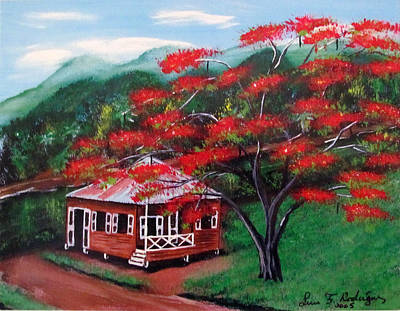Flamboyan Tree Painting - Casita De Madera by Luis F Rodriguez