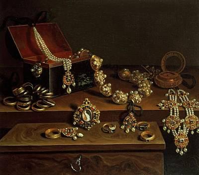 Casket Of Jewels On A Table, Principally Of German Origin 1600-50 Print by Pieter Gerritsz. van Roestraten