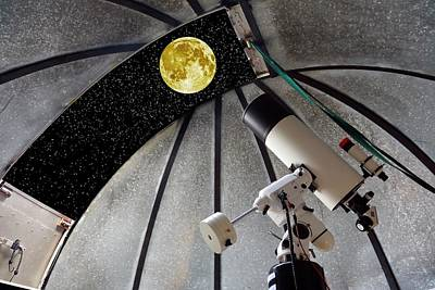 Cassegrain Telescope And Moon Print by Victor De Schwanberg