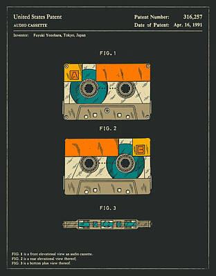 Tape Digital Art - Cassette Tape by Jazzberry Blue