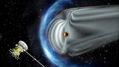 Shock Photograph - Cassini And Saturn's Magnetic Field by Esa