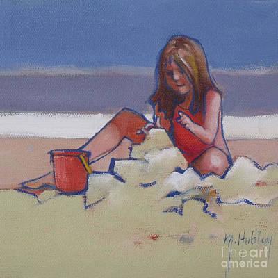 Castle Buiilding Sandcastles On The Beach Print by Mary Hubley
