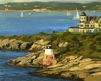 Sand Castles Painting - Castle Hill Light And Inn Newport Rhode Island by Christine Hopkins
