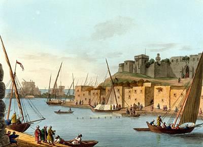 Castle Drawing - Castle In The Island Of Torosa by Luigi Mayer