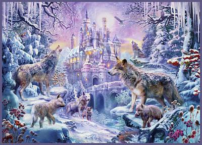 Wolf Drawing - Castle Wolves by Jan Patrik Krasny
