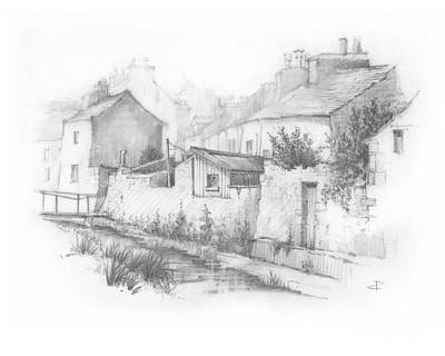 Walkway Drawing - Castletown Sketch by Paul Davenport