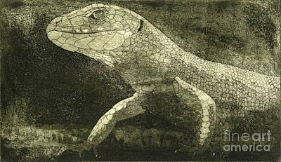 Salamanders Drawing - casual meeting Reptile Viviparous Lizard  Lacerta vivipara by Urft Valley Art