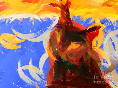 Pablo Painting - Cat Abstract Art by Pixel Chimp