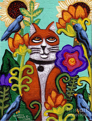 Cat And Four Birds Print by Genevieve Esson