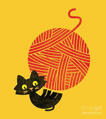 Cat Vs Yarn Print by Nava Seas