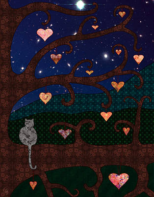 Cat And Hearts In Tree At Night Print by Cat Whipple