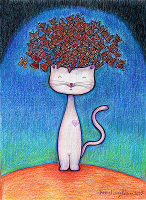 Cat And Monarcas Print by Daniel Levy policar