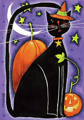 Witch Cat Painting - Cat And Pumpkins by Anne Tavoletti