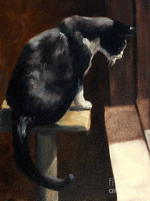 Cat At A Window With A View Print by Lisa Phillips Owens