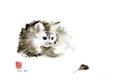 Cat Brown Grey Black Mouse Kitten Play Animal Animals Pet Pets Watercolor Painting Original by Johana Szmerdt