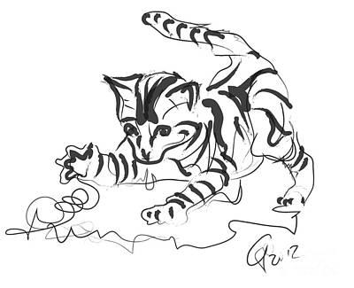 Digital Drawing - Cat- Cute Kitty  by Go Van Kampen