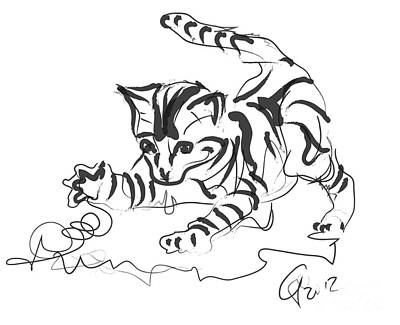 Abstract Digital Drawing - Cat- Cute Kitty  by Go Van Kampen