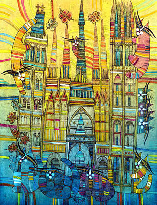 Painting - Cat-hedral by Albena Vatcheva