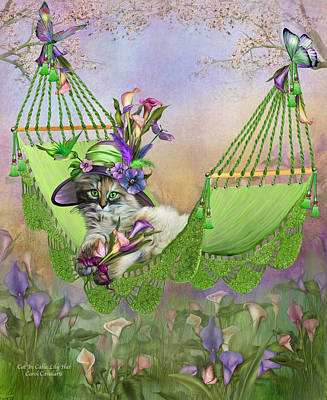 Hummingbird Mixed Media - Cat In Calla Lily Hat by Carol Cavalaris