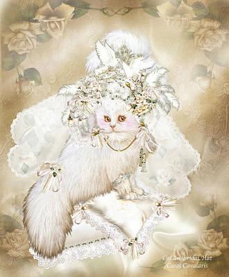 Cat In Fancy Bridal Hat Print by Carol Cavalaris