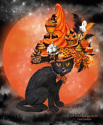 Cat In Halloween Cupcake Hat Print by Carol Cavalaris