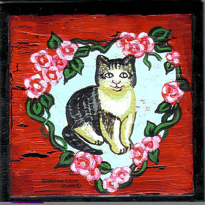 Wreath Painting - Cat In Heart Wreath 1 by Genevieve Esson