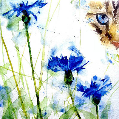 Watercolor Painting - Cat In The Cornflowers by Paul Lovering