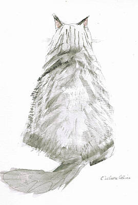 Gray Tabby Drawing - I'm All Ears by Cathy Delnore Collins