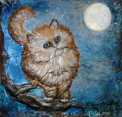 Moonlit Night Mixed Media - Cat Moon Crystal Night by Arlene Delahenty