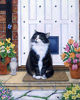 Gray Tabby Painting - Cat On Mat by Anne Mortimer