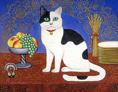 Fall Painting - Cat On Thanksgiving Table by Linda Mears