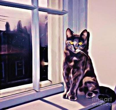 Pet Portraits Digital Art - Cat On Window Sill by John Malone