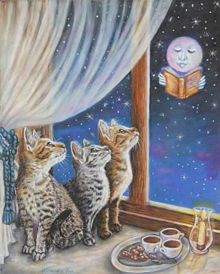 Gray Tabby Painting - Cat Painting - Moon Tales by Alessandra Rosi
