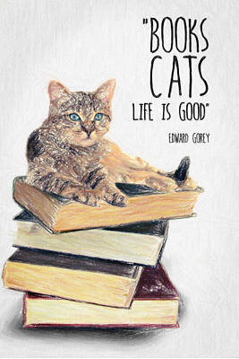 Philosophical Drawing - Cat Quote By Edward Gorey by Taylan Apukovska