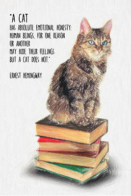Philosophical Drawing - Cat Quote By Ernest Hemingway by Taylan Apukovska