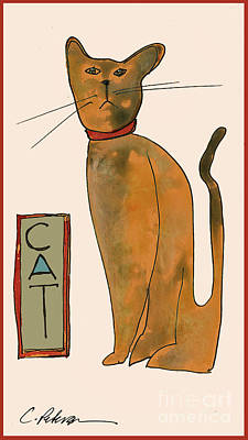 Cat.  Seated Orange And Gray With Straight Wiskers. Print by Cathy Peterson
