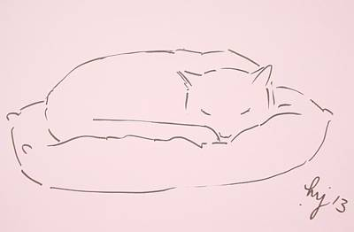 Cat Sleeping Line Drawing Original by Mike Jory