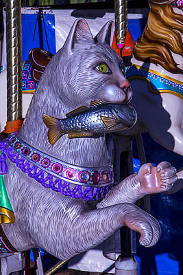 Cat With Fish Amusement Ride Print by Garry Gay