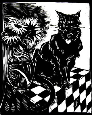 Op Art Drawing - Cat With Vase by John Fisher